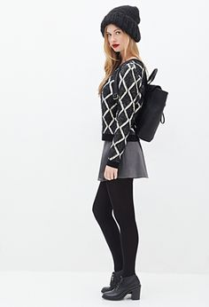 Cozy black and white diamond sweater. Just the right combo of comfy and stylish!