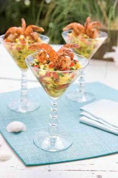 carribean shrimp cocktail in martini glass