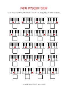 Piano key review sheet