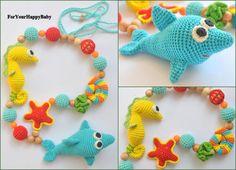 Amigurumi shark, seahorse, starfish Nursing necklace Breastfeeding necklace