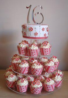 Sweet 16 Cupcake Tower  http://www.mbsweetsandtreats.com/cakes/olympus-digital-camera/