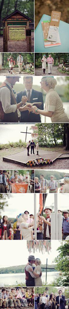 vintage summer camp inspired wedding in Michigan, creative alternative wedding photos by Kat Braman