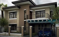 Alluring Modern Residential House Home Design Modern Bungalow, Bungalow House Design, Dream House Exterior, Exterior House Colors, Exterior Design, Modern Exterior, Simple House Design, Modern House Design, Philippines House Design