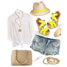 """""""Nude and Neon Yellow"""" by jill-hammel on Polyvore"""