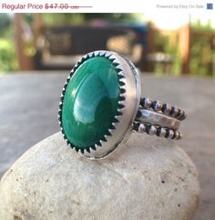 25 Off  Sterling silve malachite stacking rings by twochickstoo, $35.25