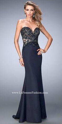 Sweetheart Lace Beaded Bodice Prom Gown By La Femme  #dress #fashion #designer #lafemme #edressme