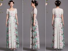 White Pink Green Floral Print Aline Maxi Dress Full by ChineseHut, $189.00