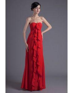 Abiti da Damigella · Strapless Chiffon Empire Floor Length Evening Dress  with Center Front Ruffles Red Bridesmaid Dresses 3d263a1906ec