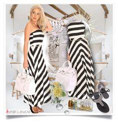 """Black White Stripe Strapless Summer Casual Maxi Dress - Amiclubwear.com - 15"" by bebushkaj ❤ liked on Polyvore"