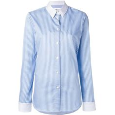Maison Margiela contrast pinstripe shirt (4,000 CNY) ❤ liked on Polyvore featuring tops, blue, pinstripe shirt, button front shirt, long sleeve shirts, blue top and long sleeve collar shirt