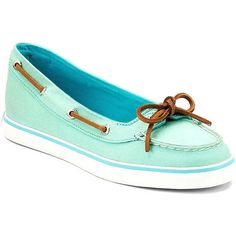 Sperry Women's Lola Skimmer ($53) ❤ liked on Polyvore featuring shoes, flats, apparel & accessories shoes, neon green, lace up flats, ballerina flat shoes, lace up shoes, wide flat shoes and ballerina pumps