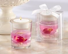 Candle holder tropical wedding favors purple orchid tealight holder favor.A gentle breeze, waves kissing the shore and the the sweet fragrance of orchids bring an intoxicating ambiance to your destination wedding.