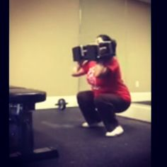 Riya working on her (30lb each) dumbbell, squat to overhead press, this morning!  #fit #fitness #squat #strength #conditioning #personaltraining #fitover40 #weightloss #fatloss #workout #exercise #dempseysresolutionfitness