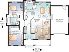 First Floor Plan of Bungalow   Country   House Plan 64894