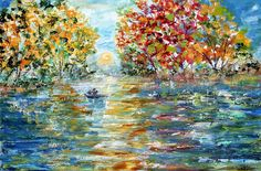 Fishing with Dad painting in oil palette knife impressionism