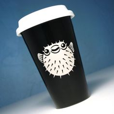 Pufferfish Travel Mug - insulated black ceramic to-go cup - nautical fish mug. $20.00, via Etsy.