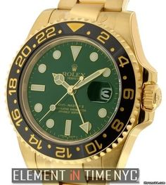 Rolex GMT-Master II 18k Yellow Gold Green Dial Ref. 116718 Price On Request