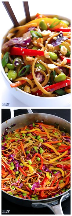 Rainbow Peanut Noodles -- made with a quick and easy peanut sauce, and ridiculously good! I Love Food, Good Food, Yummy Food, Tasty, Whole Food Recipes, Dinner Recipes, Cooking Recipes, Easy Peanut Sauce, Clean Eating