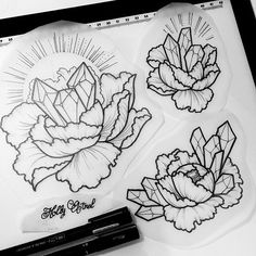 Magic crystal peonies. I'd love to tattoo these! As dotworks or colour…