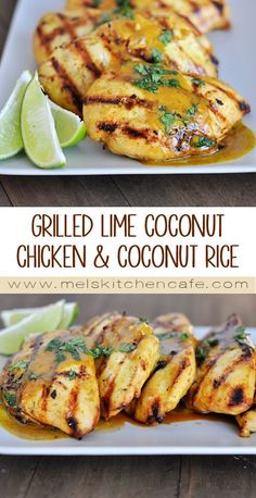 This Grilled Lime Coconut Chicken with Coconut Rice is warm and rich and crazy delicious. This Grilled Lime Coconut Chicken with Coconut Rice is warm and rich and crazy delicious. Grilled Chicken Recipes, Grilled Meat, Coconut Chicken Recipes, Grilling Recipes, Cooking Recipes, Asian Recipes, Healthy Recipes, Breast Recipe, I Love Food