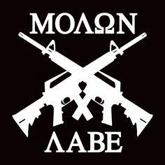 """6/"""" Molon Labe ΜΟΛΩΝ ΛΑΒΕ Crossed AK-47/'s Come and Get Them Pro Gun Vinyl Decal"""