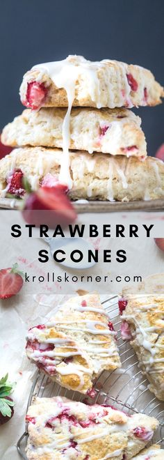The Fluffiest Greek Yogurt Strawberry Scones youll ever bite in. Brunch Recipes, Easy Dinner Recipes, Easy Meals, Dessert Recipes, Ww Desserts, Morning Glory Muffins, Strawberry Scones, Strawberry Recipes, Recipes With Yogurt