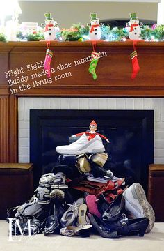 Elf on the Shelf : Elf makes a shoe mountain OMG...tooo funny! Especially since I always have a mountain of shoes anyway