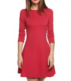 Short dress with long sleeve and flared skirt