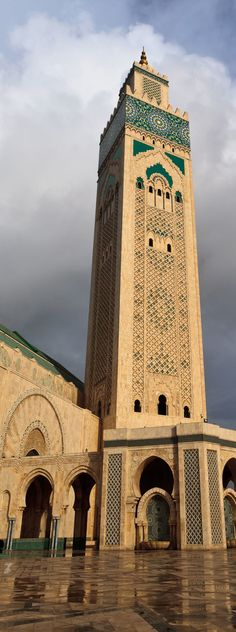 Africa | Morocco | Casablanca | Hassan II Mosque. It is the largest mosque in Morocco and the 13th largest in the world. Its minaret is the world's tallest at 210 meters (689 ft)