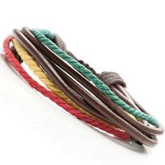 R&B Bijoux - Bracelet Homme - Couleurs Jamaïque Style Bob Marley - Manchette Cuir (Marron, Jaune, Rouge, Vert). 14,90€ #cadeau #homme #bijoux #bracelet #saintvalentin