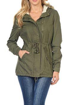 f1aa30f88a1 Women's Faux Fur Lined Fashion Military Hoodie Coat Jacket at Amazon  Women's Coats Shop