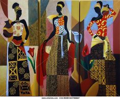 Trio de Africanas Isabel Gonzalez - Artelista. African American Artwork, African Paintings, Art Africain, Africa Art, Black Artwork, African Culture, Aboriginal Art, Mural Art, Woman Painting
