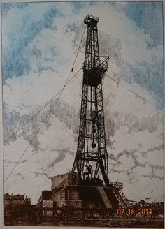 Vintage 1980's Art Print Oil Well Drilling Rig by TheIDconnection, $100.00