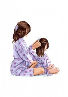The times mum used to do my hair.wish she still did 😂 this illustration is available on Etsy just in time for Mothers day coming up 💜 Mother And Daughter Drawing, Mother Daughter Quotes, Mother Art, Mom Daughter, Mother And Child, Mother Daughters, Girly M, Illustration Mode, Illustrations