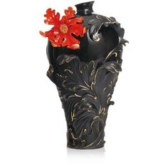 Franz Collection Baroque Red Lily Flower Vase, Large ($1,365) ❤ liked on Polyvore featuring home, home decor, vases, decorative, vase, red, red home accessories, franz collection, red home decor and baroque home decor