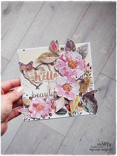 Handmade Encouragement, Hello Beauty card, greeting card, pink-salmon flower, for someone special, 6x6 card, blank card, boho style card by MaremiSmallArt on Etsy https://www.etsy.com/listing/480855335/handmade-encouragement-hello-beauty-card