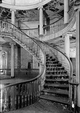 Interior staircase in the New York City Lunatic Asylum on Roosevelt Island
