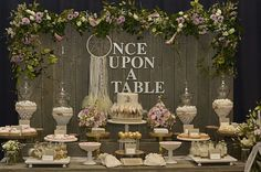 Love this Once Upon A Time Table, beautiful rustic glamour wedding dessert table.  Wedding Dessert Table Inspiration #wedding