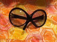 Vtg RENAULD Bug Eye Sunglasses Black Plastic Frame Italy Mid Century Space Age #RENAULD #BUGEYEOVERSIZED