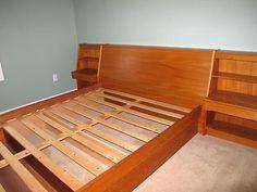 danish modern teak platform queen bed w/ floating nightstands