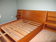 Danish Modern MCM Teak Queen Size Platform Bed w Attached Nightstands Floating | eBay