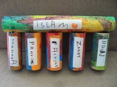 five pillars of islam craft - this would be so cute to do with preschool or KG Islamic Studies, Religious Studies, Religious Education, 5 Pillars, Pillars Of Islam, Eid Crafts, Ramadan Crafts, Toddler Crafts, Crafts For Kids