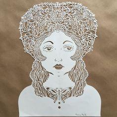 GIRL WITH a BUTTERFLY wearing kokoshnik. Hand cut paper art .