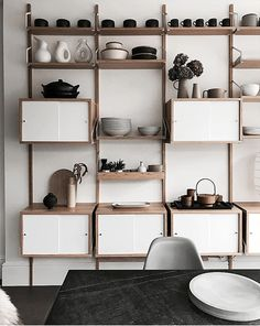 Finally, after 3 weeks of being in mess and disorganization, my new kitchen shelves are up. Worth it I think. Ikea Kitchen Storage, Dining Room Storage, Kitchen Shelves, Dining Room Furniture, Svalnäs Ikea, Ikea Wall, Wall Shelving Units, Ikea Shelves, Ikea Living Room