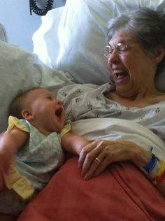laughing together with the Grandbaby or is it the Great Grandbaby?....I love laughing with ours