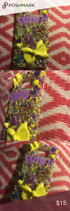 3D Bling Samsung Galaxy Note 5 Hard Cabochon Case 3D Purple and Yellow Cabochon Kawaii Bling Samsung Note 5 Hard Case Super cute embellishments. Be one of a kind with this phone case.  Rare..Lavish design. One of a Kind!!  ❄️  Handmade from durable high quality plastic materials, luxury crystal rhinestone and durable glue.  Won't fall off with proper care!  Colors same as photo  CHECK OUT THE OTHER SPARKLY THINGS IN MY SHOP  NO INTERNATIONAL ORDERS PLEASE & THANK YOU Accessories Phone Cases