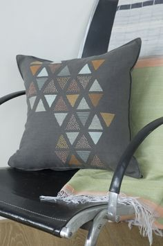 Beautiful PANDE TATU CUSHION hand embroidered by KISANY Living Linens for OTAGO design using exclusive Libeco Linen.