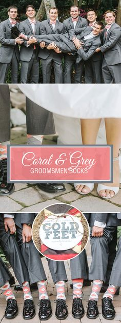 Coral continues to be a trendy, bright color for weddings. It provides bold personality and a perfect palette for spring and summer weddings. To pull it all together, don't forget about the necessity of the groomsmen socks that are a perfect match to the ties and bow ties the guys will be wearing. Give them as a wedding favor gift so that they will never forget the big day. Shop these coral dress socks and more. Photography credit: https://www.lenamirisolaphoto.com/