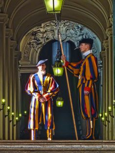 The Swiss Guards at the entrance to the Pope's quarters at the Vatican.