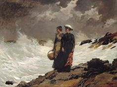 Winslow Homer Watching the Breakers oil on canvas, 1891 Thomas Gilcrease Museum American Realism, American Artists, Winslow Homer Paintings, Oil On Canvas, Canvas Prints, Framed Prints, Paintings I Love, Ocean Paintings, Oil Paintings